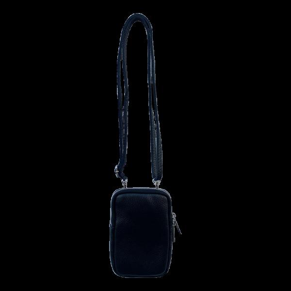 Telefoontasje leer - Zwart