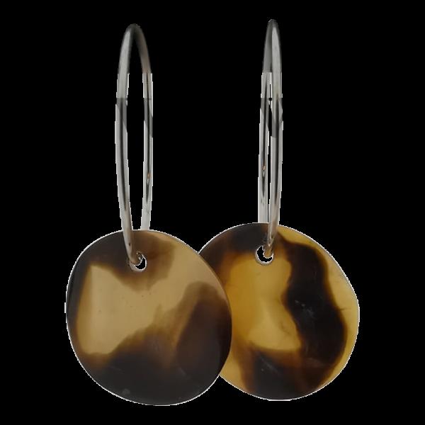Oorbellen met schelp - Brown lip 20mm zilver